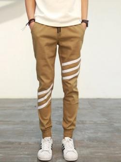 กางเกงวอร์มขายาวเกาหลี แต่งแถบสลับด้านข้าง จั้มปลายขา เชือกรูด มี4สี