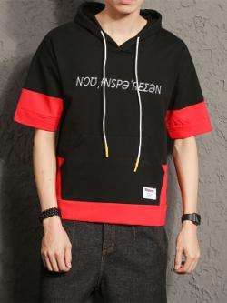 เสื้อฮู้ดแขนสั้นเกาหลี แต่งสลับสี พิมพ์ลายด้านหน้า มี2สี