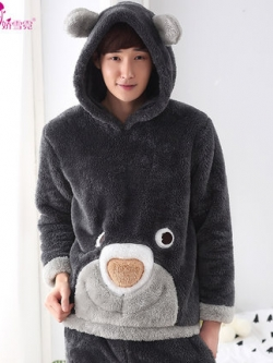 ชุดนอนกำมะหยี่หนานุ่มเกาหลี แต่งรูปการ์ตูน เสื้อ+กางเกง