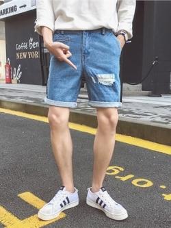 กางเกงยีนส์ขาสั้นเกาหลี แต่งรุ่ยๆ ดีไซน์เท่ มี2สี