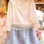 PreOrderคนอ้วน - เซตคู่ แฟชั่นคนอ้วน ไซส์ใหญ่ เสื้อ-กระโปรง เสื้อแขนสี่ส่วน แต่งลูกไม้ที่คอ แขนและชายเสื้อสีขาว กระโปรงผ้าพิมพ์ลายสีฟ้า thumbnail 3