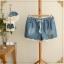 กางเกงขาสั้นผ้ายีนส์ เอวรูดผูกเชือก ระบายลูกไม้ที่ขอบขากางเกง
