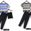 PreOrderคนอ้วน - เซตคู่ แฟชั่นคนอ้วน ไซส์ใหญ่ (2 ชิ้น) เสื้อแขนสั้นออกแนวซีทรูบาง ๆ กางเกงฮาเรมสีดำ ใส่สบาย ๆ สี : เส้นดำ / ส้นน้ำเงิน thumbnail 2
