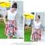 Angel Babie ++สินค้าพร้อมส่งค่ะ++ชุดแฟชั่นเซ็ทเกาหลี เสื้อคอ V แขนกุด ผ้าไหมเนื้อดีสวย+กระโปรงผ้าพิมพ์ลายยุโรปเก๋ – สีขาว thumbnail 10