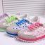 Pre Order - รองเท้าแฟชั่น ลำลอง ลายดอกไม้ พื้นเป็นฟองน้ำ งอโค้งได้(ตามภาพสุดท้าย) สี : สีฟ้า / สีชมพู / สีแดง / สีม่วง / สีเขียว thumbnail 5