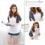 Pre Order - เสื้อแฟชั่นเกาหลี ผ้าฝ้ายใส่สบาย แขนเสื้อสั้นลายม้าลาย สีขาว thumbnail 1