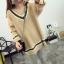 PreOrderคนอ้วน - เสื้อกันหนาว ไหมพรม คอวี สี : เขียว / เบจ thumbnail 3