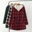 PreOrderคนอ้วน - เสื้อกันหนาวแฟชั่น ผ้าฝ้ายลายสก๊อต บุขนสัตว์ด้านใน มีHood สี : ดำ / แดง / เขียว thumbnail 1