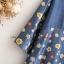 [ พร้อมส่ง] เสื้อผ้าฝ้ายสีนำ้เงินตัวหลวม พิมพ์ลายดอก ระบายที่ชายเสื้อ thumbnail 4