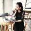PreOrderไซส์ใหญ่ - เสื้อแฟชั่นเกาหลี ไซส์ใหญ่ คนอ้วน ผ้าชีฟอง แต่งแขน สีดำ thumbnail 5