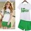 ##พร้อมส่ง## เซตคู่ เสื้อกางเกงกระโปรงแฟชั่น ทั้งไซส์ใหญ่ ไซส์เล็ก เสื้อแขนสั้นเย็บBatman กางเกงขาสั้นดีไซส์ทันสมัย สี : ขาวเขียว thumbnail 1