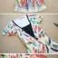 ++เสื้อผ้าไซส์ใหญ่++ Yizhu *พร้อมส่ง* ชุดเดรสเกาหลีไซส์ใหญ่ผ้าชีฟองแขนระบายสีเหลืองอ่อนคอวีตัดต่อผ้ายืดเนื้อนุ่มช่วงอกพิมพ์ลายขนนกสีสดใสกระโปรงพริ้วสวยค่ะ(L,XL,2XL) thumbnail 3