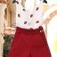 PreOrderไซส์ใหญ่ - เซตคู่แฟชั่น ไซส์ใหญ่ คนอ้วน เสื้อแขนกุดปักริมฝีปากสีแดง กางเกงขาสั้นเข้าชุด thumbnail 3