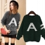 PreOrderคนอ้วน - เสื้อไหมพรมกันหนาว ถักลายอักษรA สี : เทา / เขียว thumbnail 1