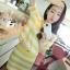 ++สินค้าพร้อมส่งค่ะ++ชุด sport set เกาหลี เสื้อแขนสั้น มี hood ผ้า cotton พิมพ์ลายริ้ว+กระโปรงสั้น เอวจั้มแบบยางยืด – สีเหลือง thumbnail 3
