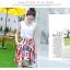 Angel Babie ++สินค้าพร้อมส่งค่ะ++ชุดแฟชั่นเซ็ทเกาหลี เสื้อคอ V แขนกุด ผ้าไหมเนื้อดีสวย+กระโปรงผ้าพิมพ์ลายยุโรปเก๋ – สีขาว thumbnail 4