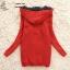 ++สินค้าพร้อมส่งค่ะ++เสื้อ coat เกาหลี สไตล์ cardigan ตัวยาว แขนยาว มี hood ซับในด้วยขนนิ่มอุ่นมากๆ ค่ะ ทอรูปกระต่ายด้านหน้า เก๋ – สีแดง thumbnail 5