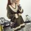 PreOrderคนอ้วน - เสื้อกันหนาว ไหมพรม คอวี สี : เขียว / เบจ thumbnail 2