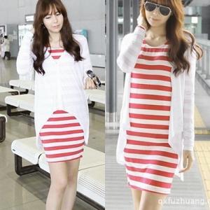 ชุดคลุมท้องสีแดงสลับขาว+เสื้อคลุมแขนยาวสีขาว