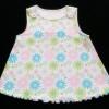 GSH-363 (6M) เสื้อแขนกุด Sears Baby สีขาว ลายดอกไม้สีชมพู-ฟ้า-เขียว ติดกระดุมไหล่ ระบายริมสีฟ้า