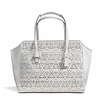 กระเป๋า COACH F27391 SV/IY TAYLOR EYELET LEATHER CARRYALL COLOR:  SILVER/IVORY