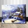 รหัส HB4050357 ภาพระบายสีตามตัวเลข Paint by Number แบบ Snow House ขนาด40x50cm/พร้อมส่ง
