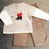 ฺBS-217 (18M) ชุด Baby Boots & Mini Boots เสื้อสีเทา ตัดต่อแขนสีขาว ลายลูกหมีตีกอล์ฟ พร้อมกางเกงลูกฟูกสีเทาเข้ม