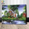 รหัส HB4050346 ภาพระบายสีตามตัวเลข Paint by Number แบบ Lake House ขนาด40x50cm/พร้อมส่ง