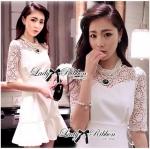 Lady Hana Classic Glam Insert Lace Ruffle Dress in White