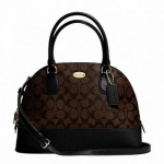 กระเป๋า Coach F33904 Signature CORA DOMED SATCHEL BROWN/BLACK Leather Handbag ใหญ่