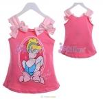 เสื้อเด็กหญิงสกรีนลายเจ้าหญิงสีชมพู