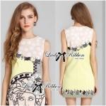 Lady Eleonore Versace Mixed Print Sleeveless Dress in Pastel (สีเหลือง)