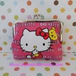 กระเป๋าใส่เศษสตางศ์ใบกลาง คิตตี้ kitty ขนาดยาว 10 ซม.* สูง 8 ซม. พิมพ์ลายคิตตี้โบว์ พื้นสีชมพูอ่อน