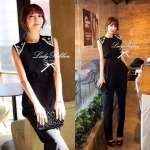 Lady Pearly, Crystal Embellish Black Jumpsuit