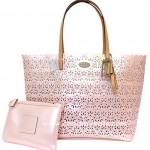 COACH F35716 SVXLH METRO EYELET LEATHER TOTE & WRISTLET Pearl Pink สีชมพู