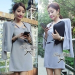 Lady Abigal Mini dress Outer Set (สีเทา)