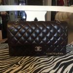 สินค้าพร้อมส่งจาก USA » มือสอง กระเป๋า Chanel Classic Double Flap Medium Lambskin Leather Dark Brown
