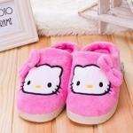รองเท้าใส่ในบ้าน ออฟฟิศ คิตตี้ kitty#7 ขนาด free size ลายหน้าคิตตี้โบว์ชมพู สีชมพู