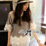 Lady Hannah Dreamy Sweet Delicate Top (สีเทา)