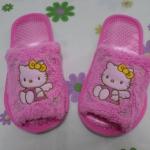 รองเท้าใส่ในบ้าน ออฟฟิศ คิตตี้ kitty-10 ขนาด free size ลายคิตตี้นางฟ้าโบว์เหลือง พื้นสีชมพู