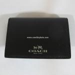 อยู่ USA : กระเป๋าใส่การ์ด กระเป๋าสตางค์ COACH 62874 SVBK Darcy Black Leather ID Credit Card Case Holder Bifold Wallet
