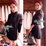Darling Puff Sleeve Lace Cardigan (สีดำ)