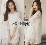 Lady Blake Sweet Pure White Embroidered Organza Dress with Tassel
