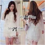Lady Lucy Sweet Dreamy Layer Embroidered Organza and Chiffon Ensemble Set