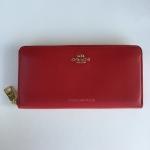 สินค้าพร้อมส่งจาก USA » กระเป๋าสตางค์ COACH F54049 FINE LEATHER ACCORDION ZIP WALLET LIGHT GOLD RED