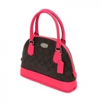 กระเป๋า Coach F34710 SVDMX MINI Signature Cora Domed Satchel Cross Body Bag Neon Pink