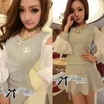 Lady Mindy Cut-Out Cotton Top and Ruffle Skirt Set