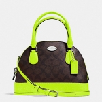กระเป๋า Coach F34710 MINI Signature Cora Domed Satchel Cross Body Bag Neon Green