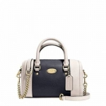 กระเป๋า COACH F35533 IMDVF CrossGrain Leather Baby Bennett Satchel Midnight Blue/Chalk