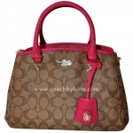 กระเป๋า Coach F34605 IMCMY Signature Margot Mini Carryall Satchel Shoulder Bag Pink Khaki ชมพู
